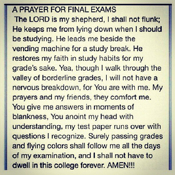 Prayer for Final Exams- funny
