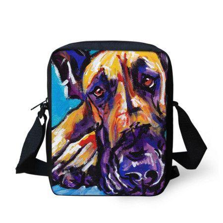 Colorful Printed Dog Shoulder Bag Hunde Gemalde Pop Art Poster Deutsche Doggen