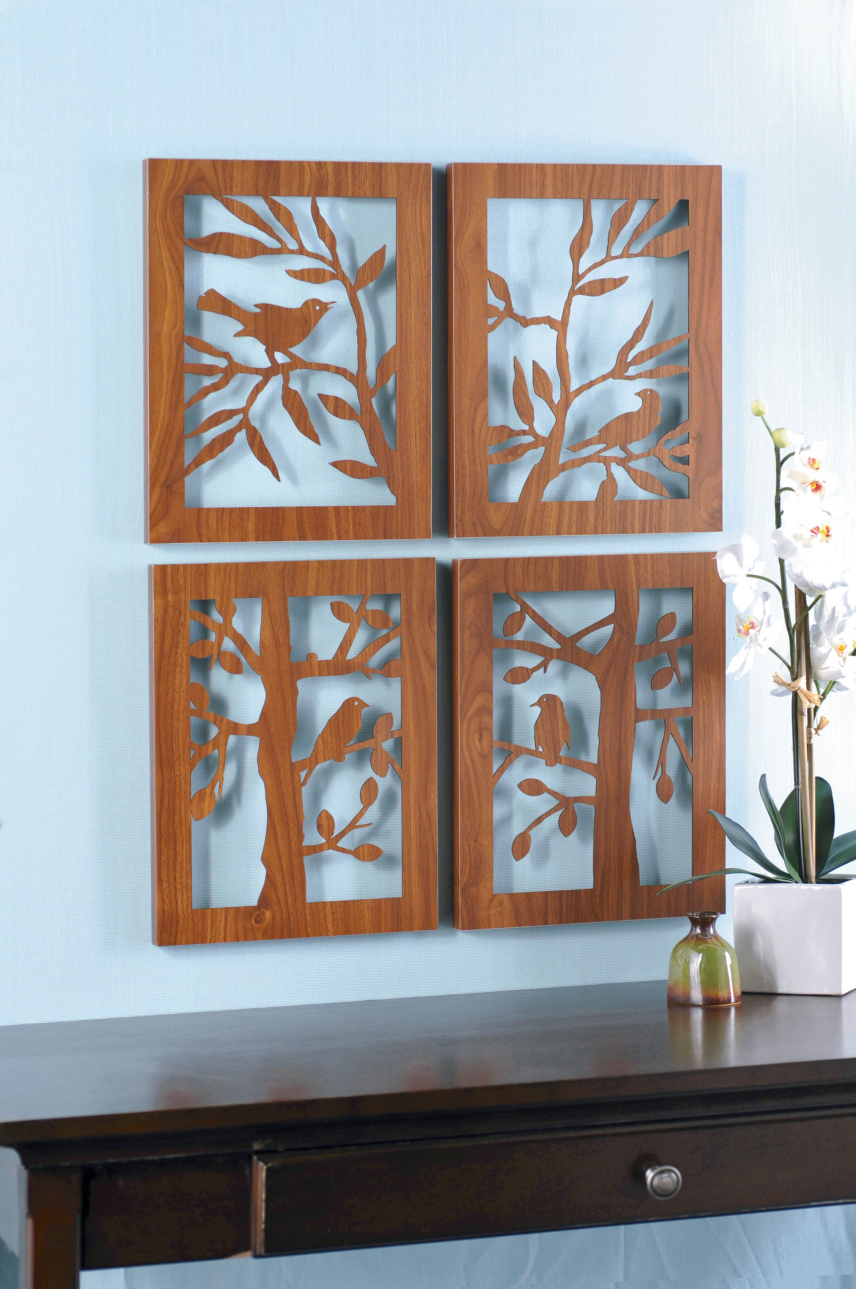 Four laser cut wood plaques can be hung together or separetely creative ideas pinterest for Deco laser maison