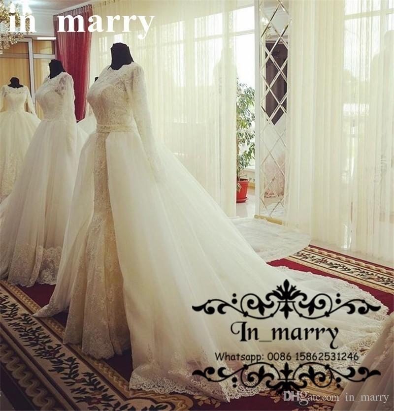Luxury vintage lace overskirt mermaid wedding dresses 2017