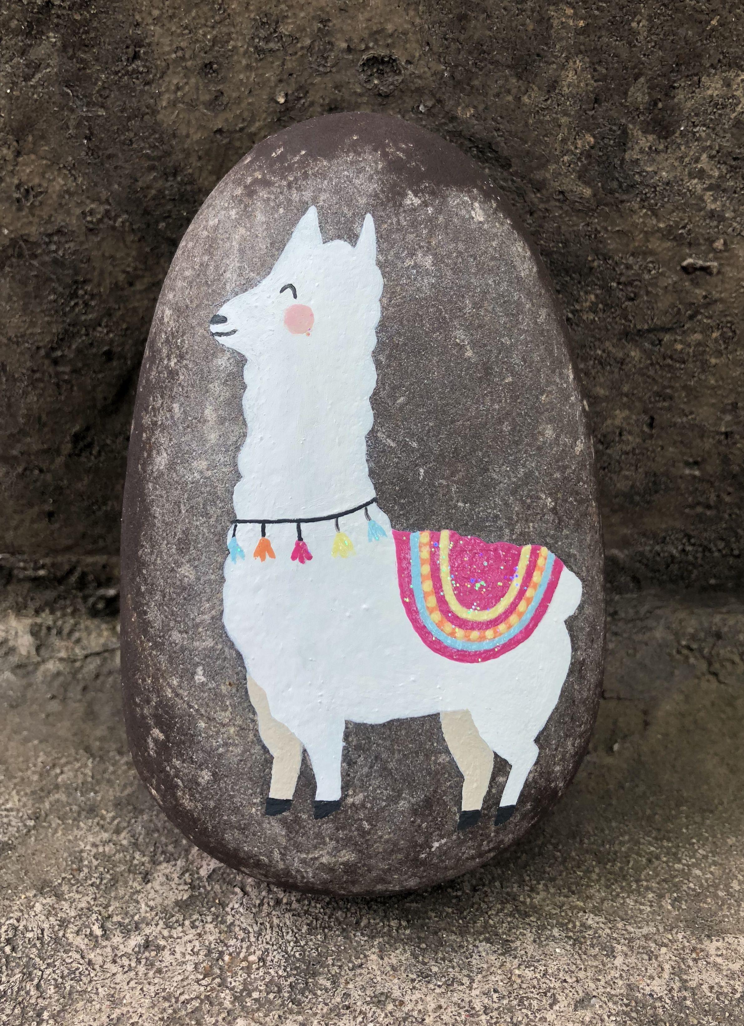 Llama painted rock by Christa Keeler