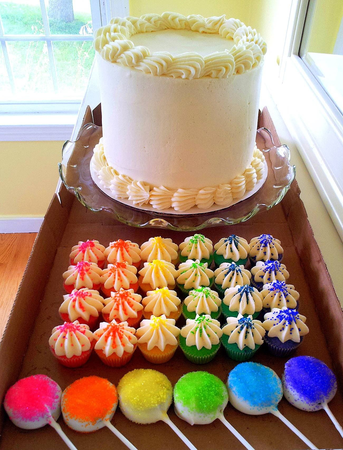 Rainbow themed birthday party with 6 layer rainbow cake mini