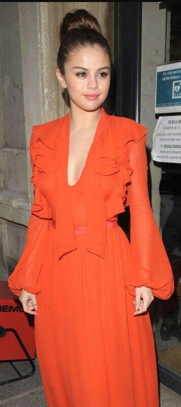 Selena wearing a beautiful orange dress ♡ | Fashion ...