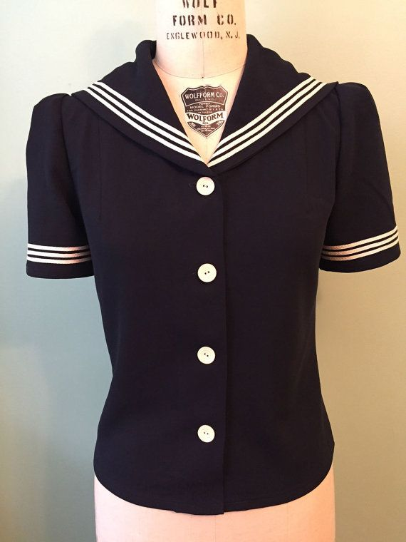 444da19035 1930s Style Tops, Blouses & Sweaters 1940s 40s puffed sleeve navy sailor top  custom made for your size $125.00 AT vintagedancer.com