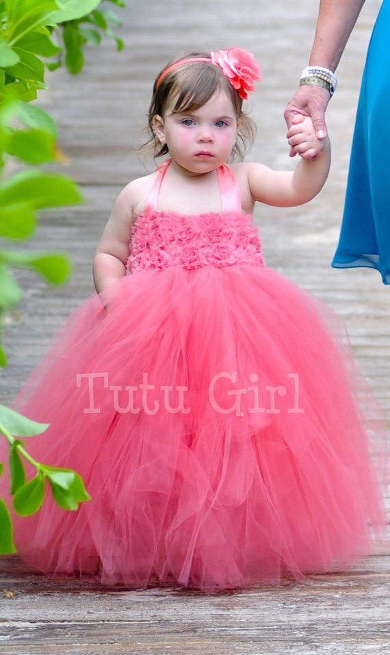 1df06fc3365 Fully Sewn CORAL tutu dress Flower girl dress Coral Salmon