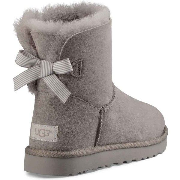 UGG Women's Mini Bailey Bow Stripe Seal Boots ($150) ❤ liked on Polyvore featuring