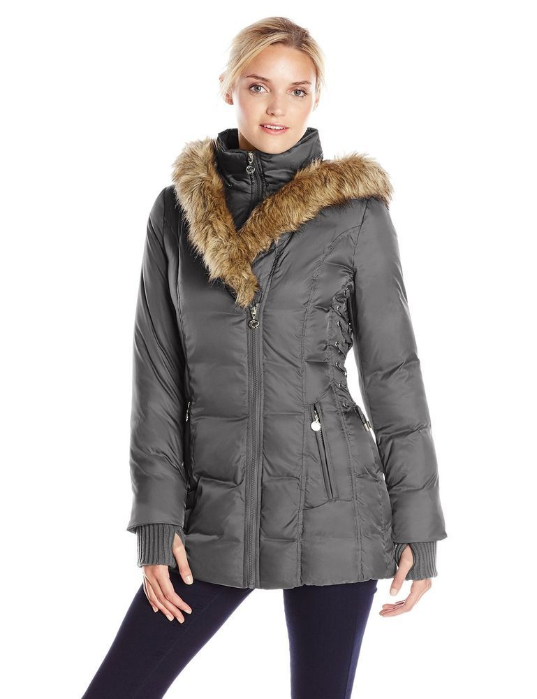 f10f18c2e86d Betsey Johnson Hooded Lace-Up Puffer Coat Steel Medium MSRP  280   BetseyJohnson…