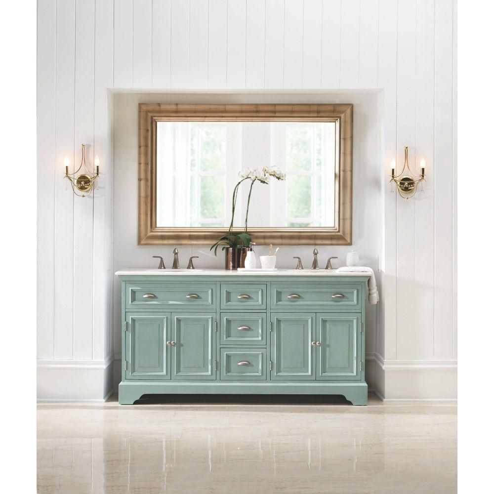 Home Decorators Collection Sadie 67 in. Double Vanity in Antique Blue with  Natural Marble Vanity Top in White with White - The Home Depot - Bathroom Vanities That Sparkle And Shine Marble Vanity Tops