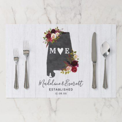 Alabama State Destination Rustic Wedding Monogram Paper Placemat Chic Gifts Diy Elegant Gift Ideas Personalize