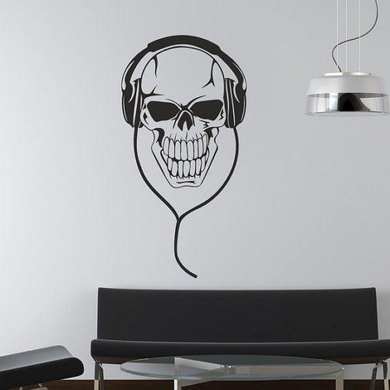 Fancy wall decal mural sticker bedroom decals poster skull headphones music z658
