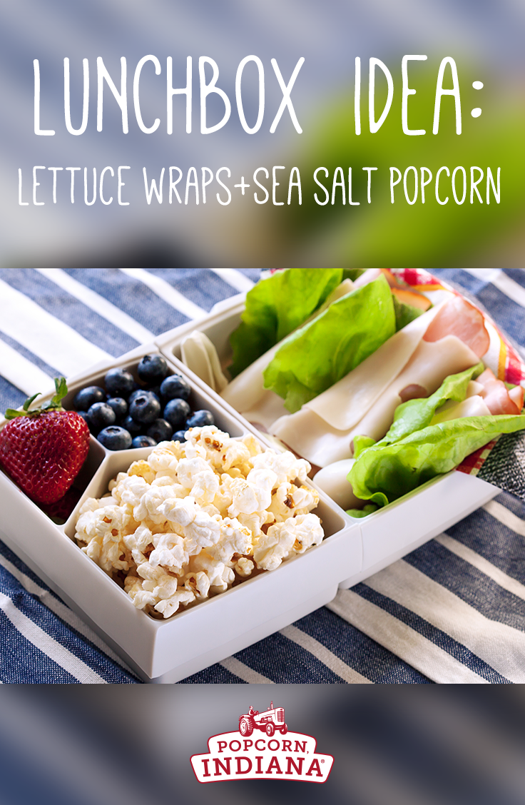 Lunchbox idea: Crispy lettuce wraps with ham and cheese with fresh fruit and Popcorn, Indiana Sea Salt Popcorn! #LunchboxIdeas #Lunch #School