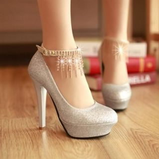 04ecee369c28 2013 Latest Round Closed Toe Stiletto High Heels Sliver PU Party Ankle  Strap Pumps