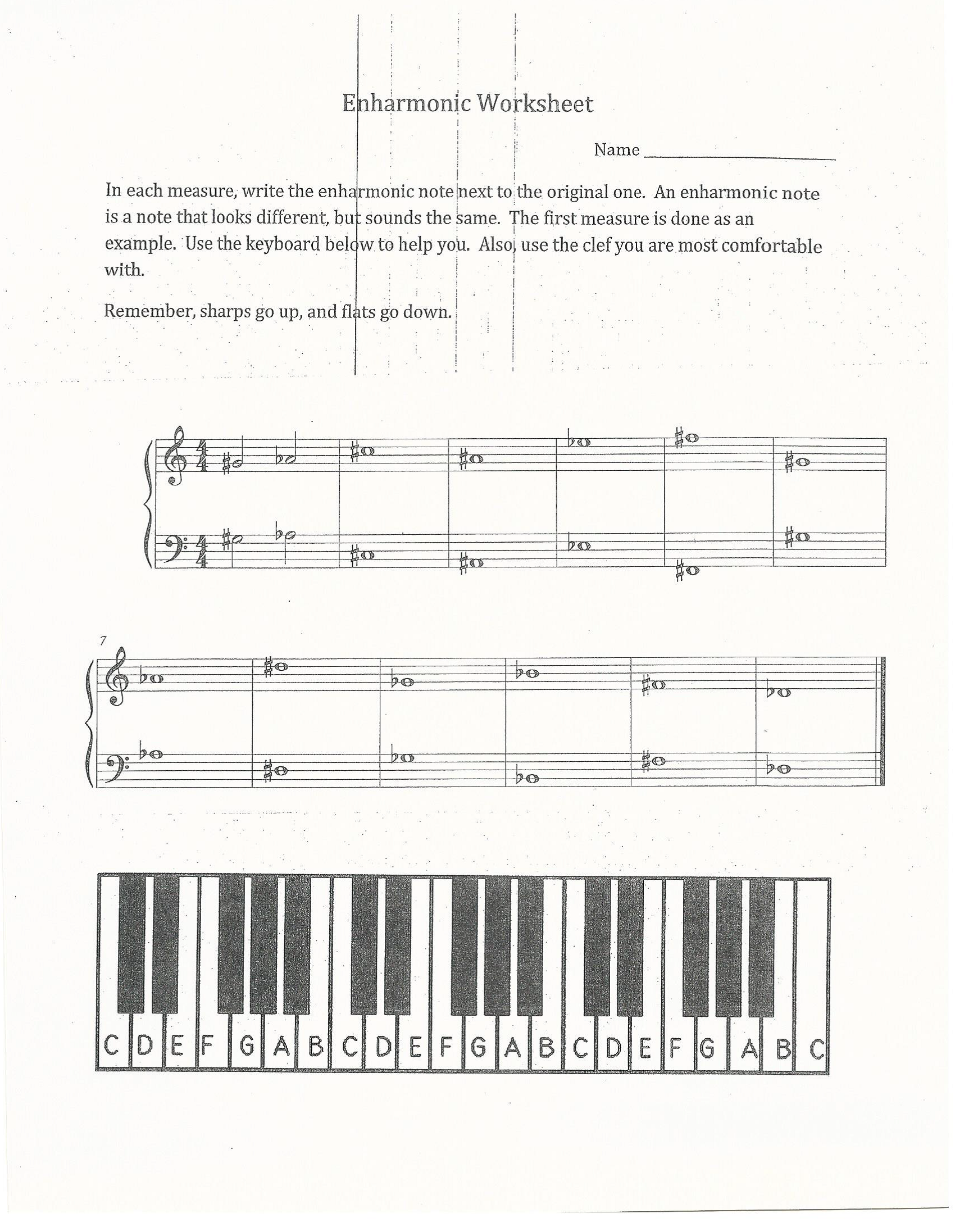 Enharmonic Worksheet I Created This Worksheet To Teach