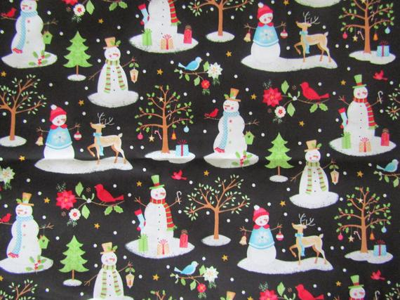 Snowman Fabric 100 Cotton Fabric Fabric By The Yard Christmas