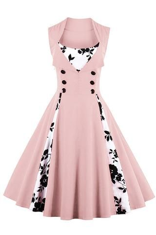 Atomic Pink Buttoned Floral Cocktail Dress