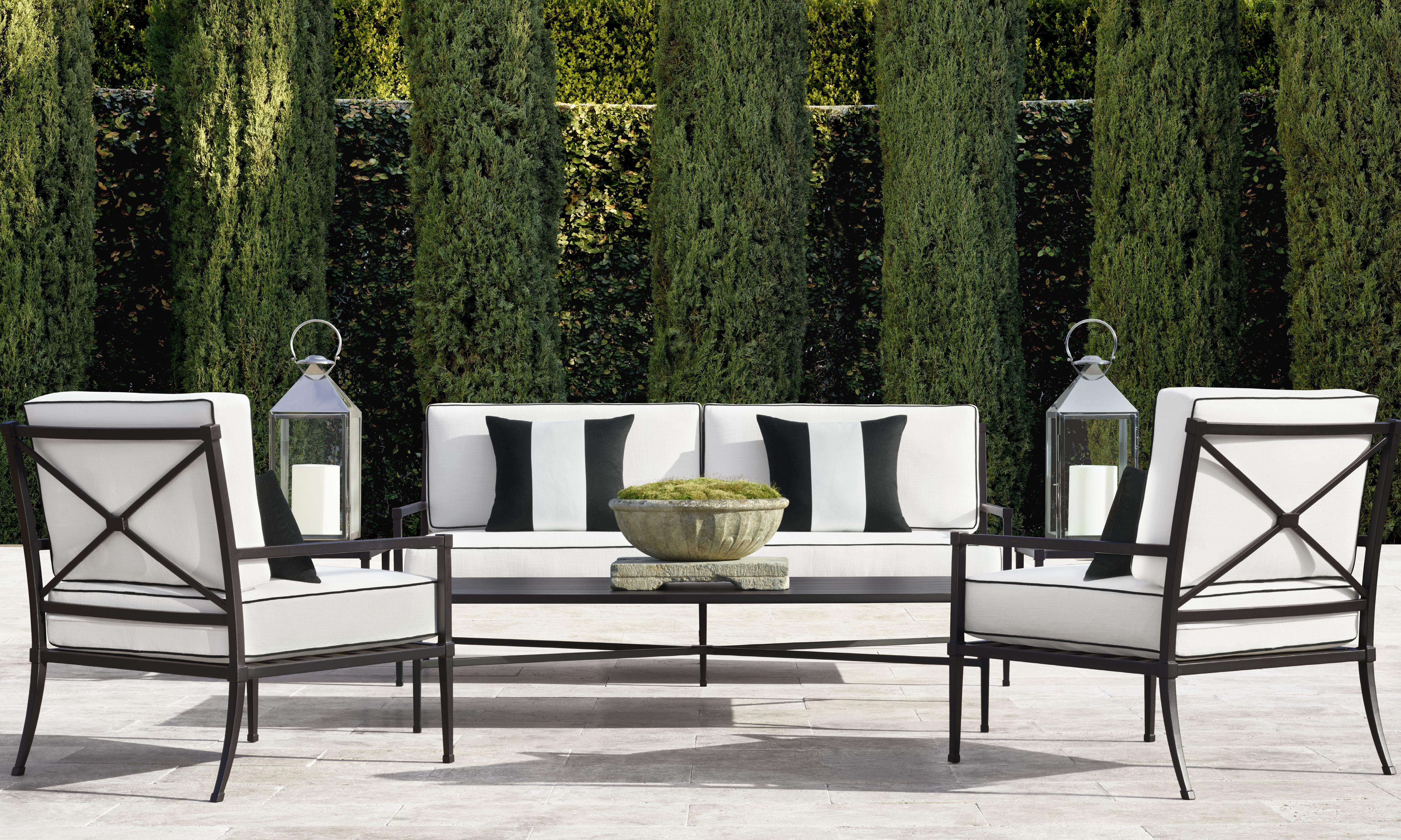 Restoration Hardware Creates A French Inspired Garden Collection With A Hamptons Twist Restoration Hardware Outdoor Metal Outdoor Furniture Outdoor Decor