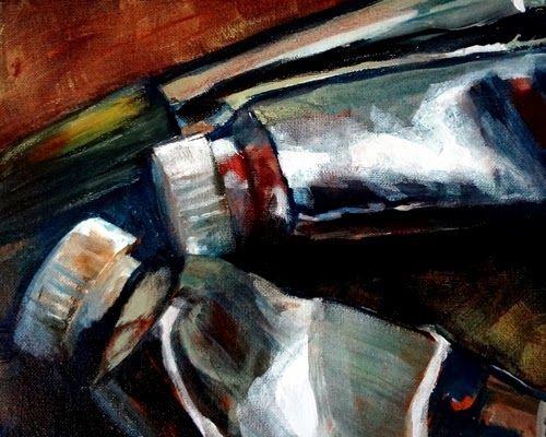 Sue Gardner original acrylic painting artists tubes of