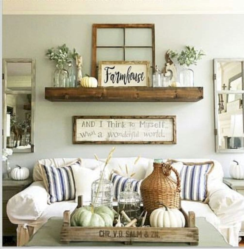 Best Cool 47 Shabby Chic Farmhouse Living Room Decor Ideas 400 x 300