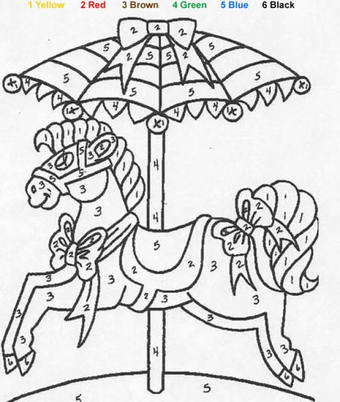 Color By Number Coloring Pages Toy Color By Number Coloring Pages Carousel Color By Number Coloring Pages Coloring Books Color By Numbers