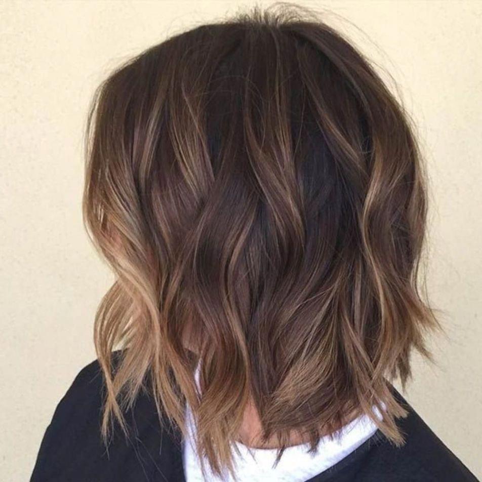 Dark Brown Mixed Balayage Color Haircolor Balayage Hair Short Hair Balayage Short Hair Color