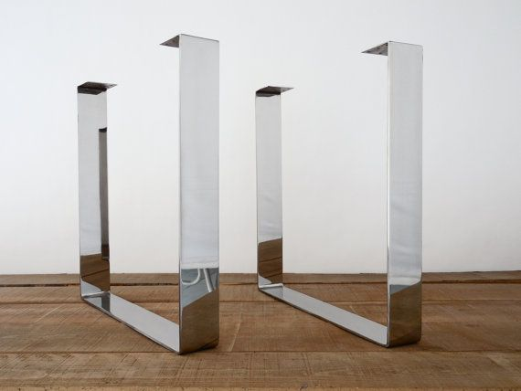 28 Quot Polished Wide Flat Stainless Steel Table Legs Wide Base