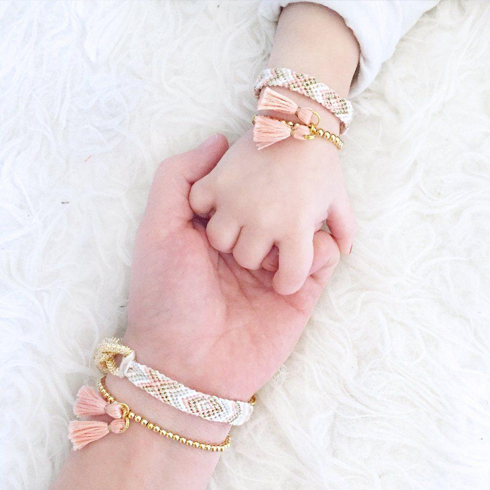 Peach tribal mom bracelet with gold chainpeach tribal mini version