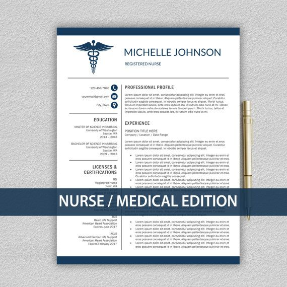 Nurse Resume Template for Word \/ Doctor Resume Template Medical - nurse cv template