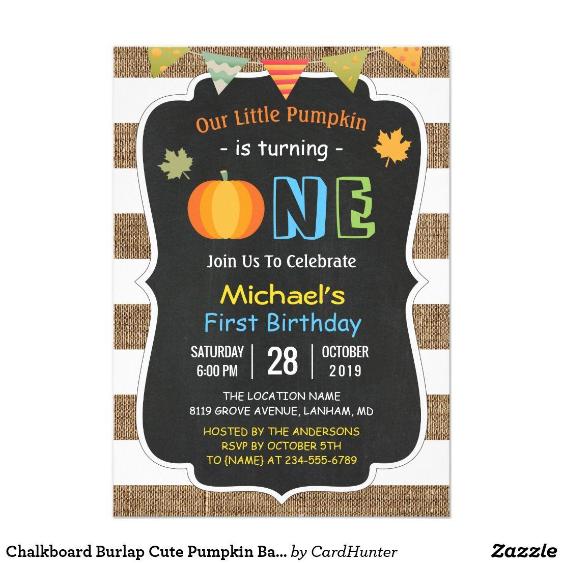 chalkboard burlap cute pumpkin baby first birthday card | miles