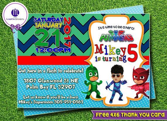 Pj Masks Invitation Pj Masks Birthday Party Pj Mask Super Hero Pj - Pj masks invitation template free