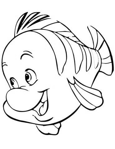 Flounder Little Mermaid Coloring Pages Sketch Template Mermaid
