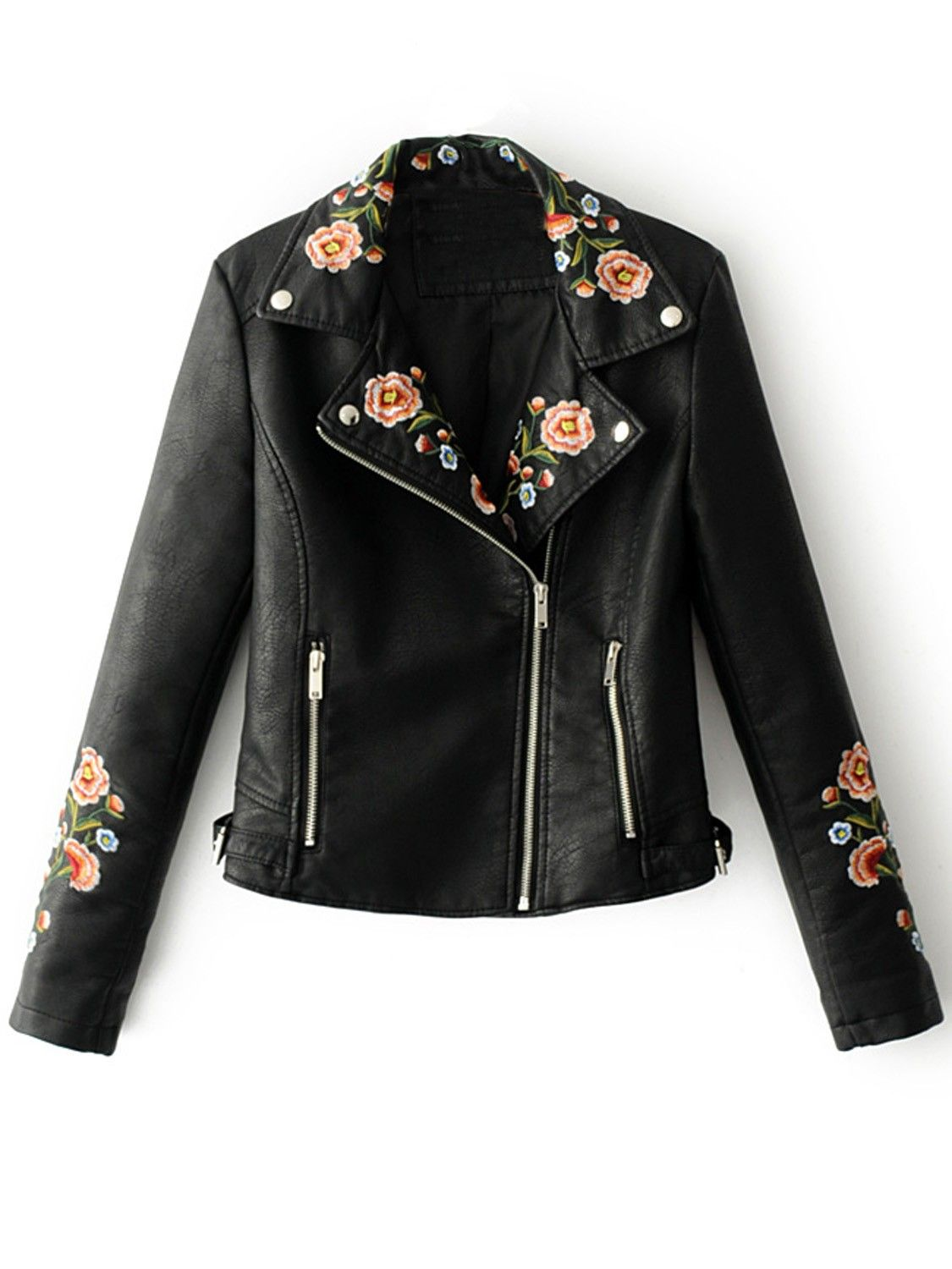 Lapel Embroidery Floral Detail Leather Look Biker Jacket