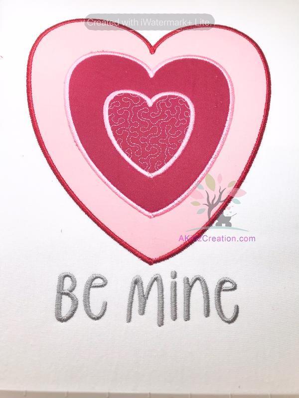 a8b33fb354dbe Valentine Triple Heart Applique Design