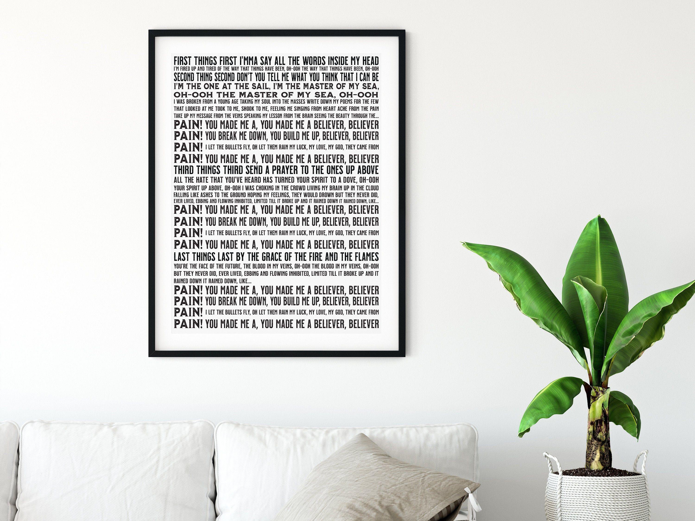 Imagine Dragons Poster Believer Full Song Lyrics Digital Etsy Imagine Dragons Imagine Dragon Wall Art