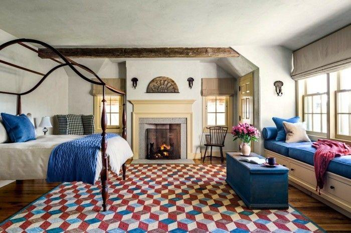 schlafzimmer landhausstil blaue akzente und frischer teppich
