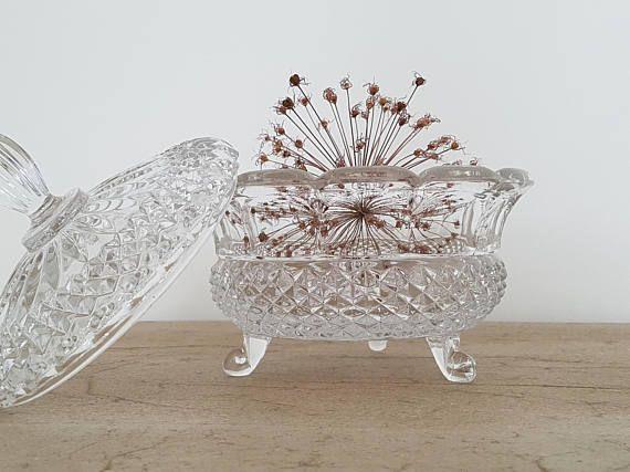 Grosse Antike Jugendstil Kristall Bonbonniere Schale Dose
