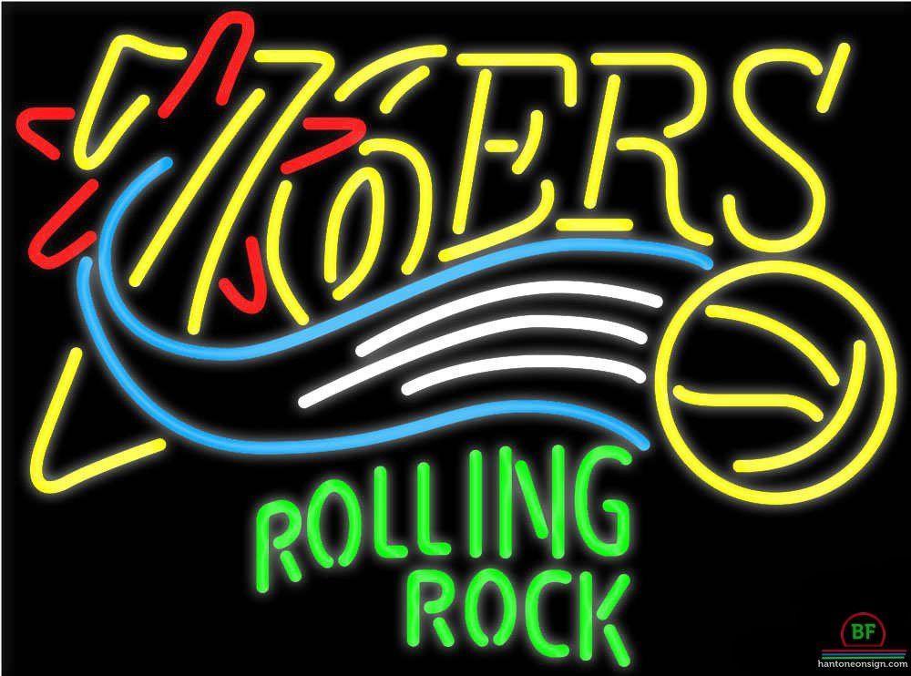 Rolling Rock Philadelphia 76ers Neon Sign NBA Teams Neon