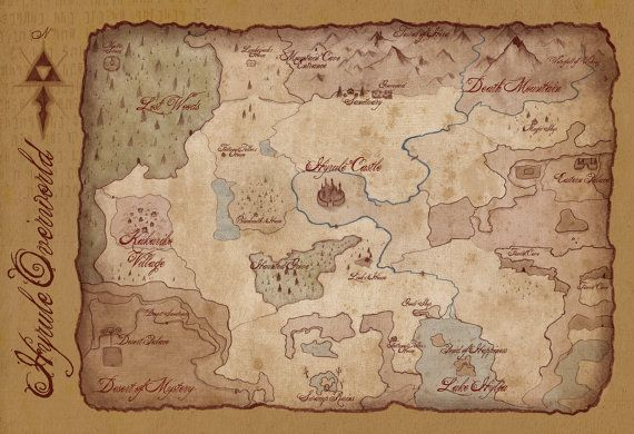 Hyrule Overworld Map Legend Of Zelda 13x19 Inch Antique