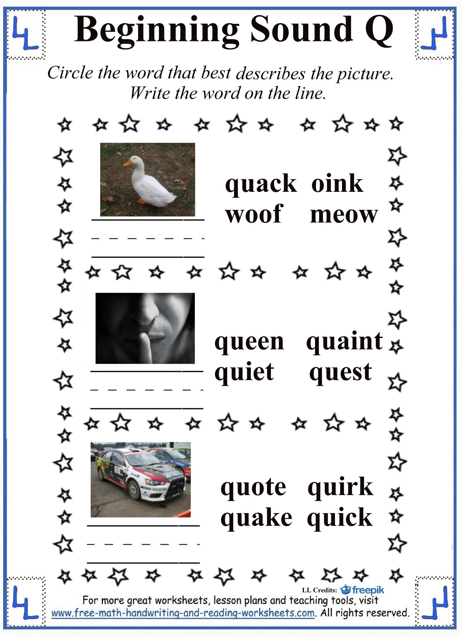 Beginning Sound Letter Q Worksheets