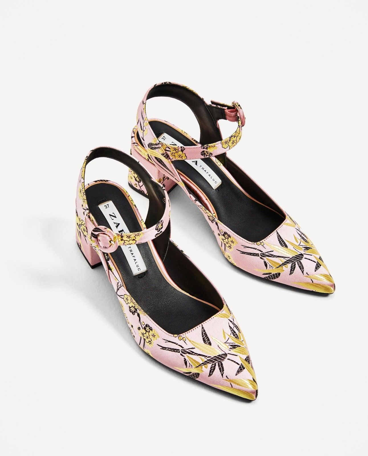 d150b64e50f Zara new embroidered kitten heel slingback shoes pink 7210 201 ...