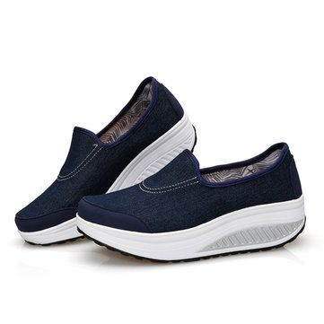 Denim Platform Pure Color Rocker Sole Shake Canvas Shoes