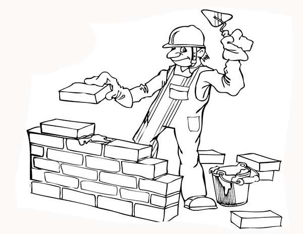Construction Construction Worker Build A Wall Coloring Page