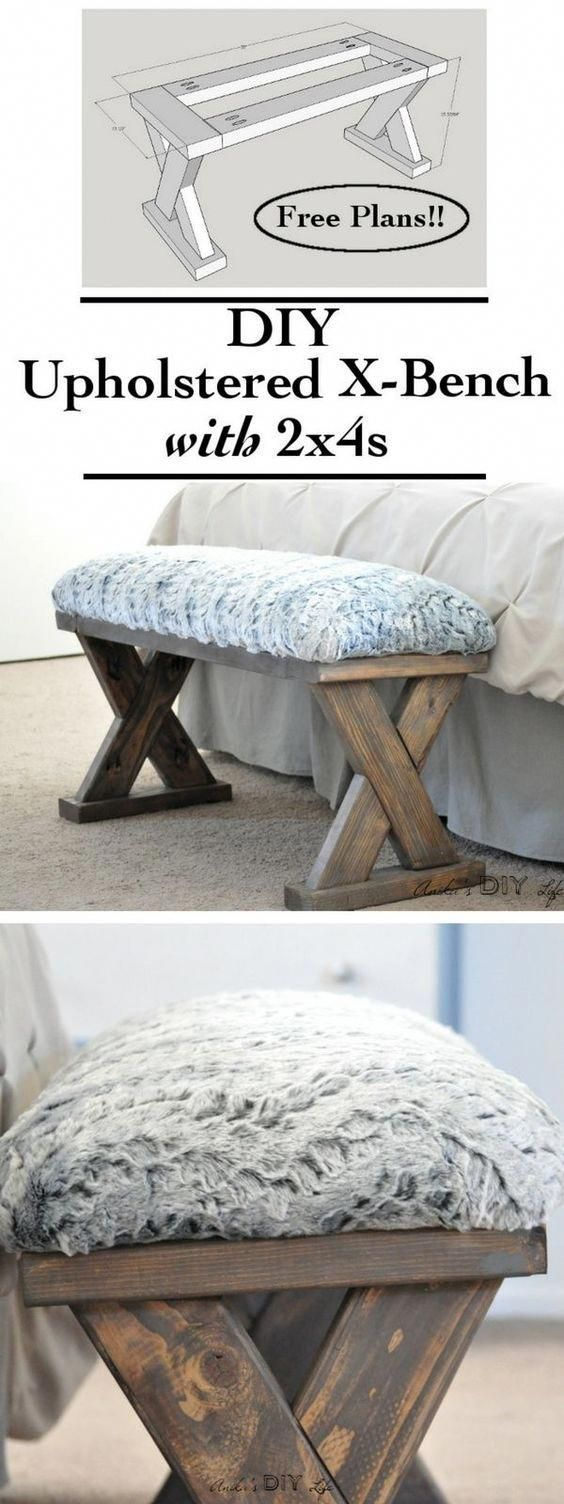 Photo of DIY Upholstered X-Bench using 2 x 4 boards with Plans