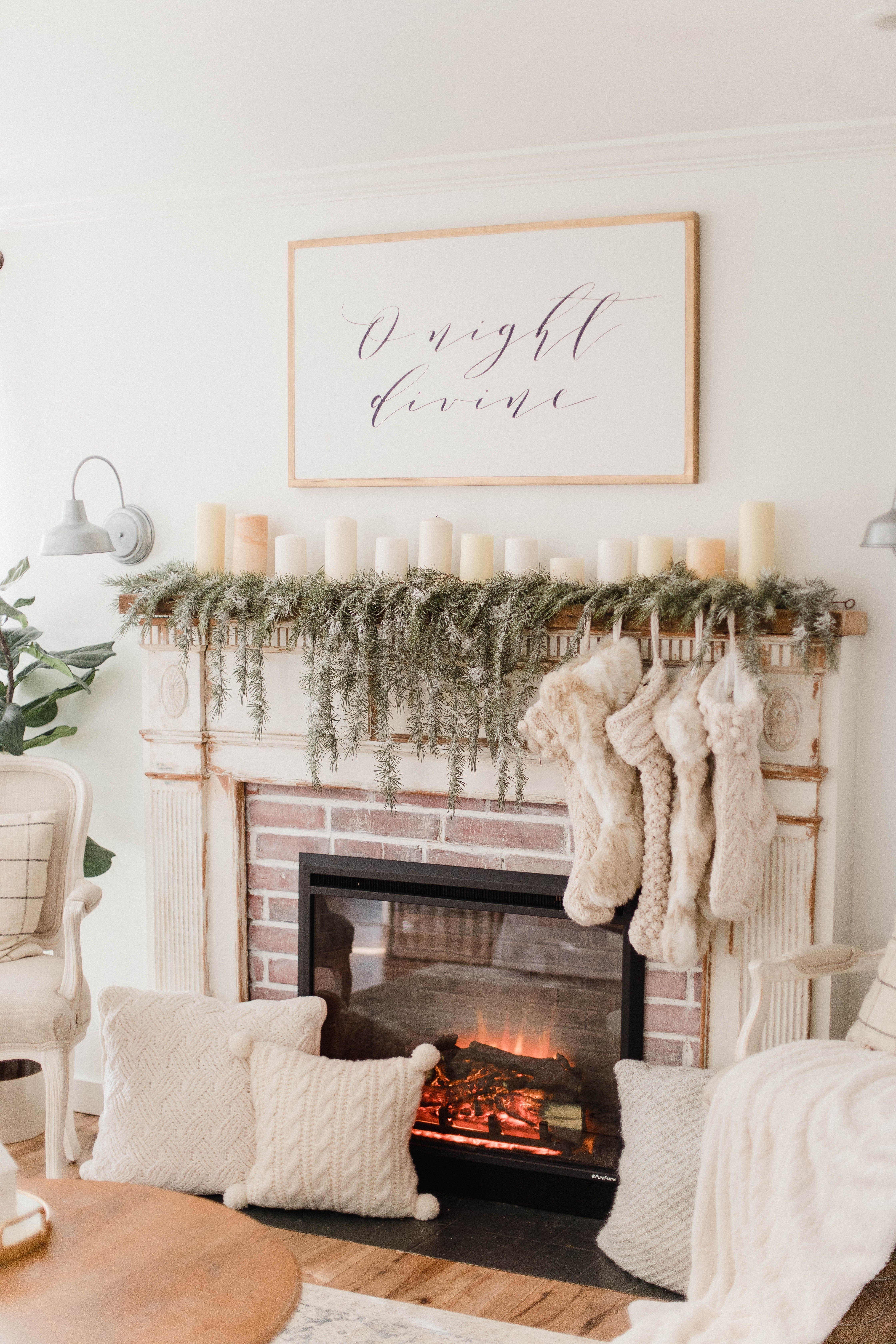 Photo of Our Electric Fireplace #christmasdecor Connecticut life and style blogger Lauren…
