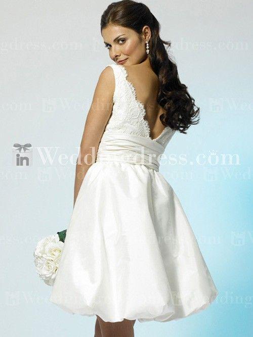 Short Taffeta Lace V Neck Bubble Hem Wedding Gown BC071