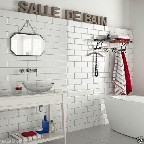 Bathroom Tiles New York new york subway xl flat white gloss kitchen bathroom wall metro