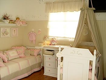 Beige and pink Baby Room  This is more of what i'm looking for... I love how soft this room is.
