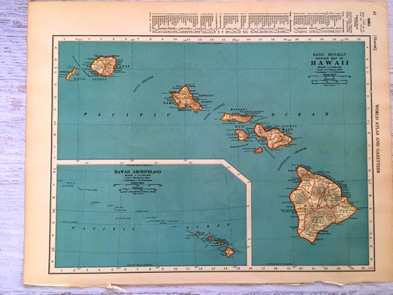 1937 Hawaii Antique Map Old Map of Hawaii & Panama Canal