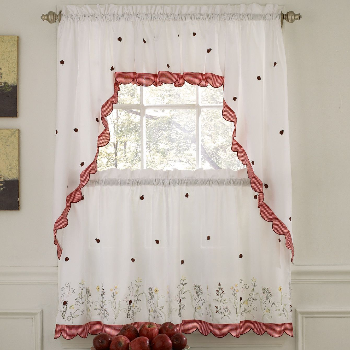 Embroidered ladybug meadow kitchen curtain valance kitchen