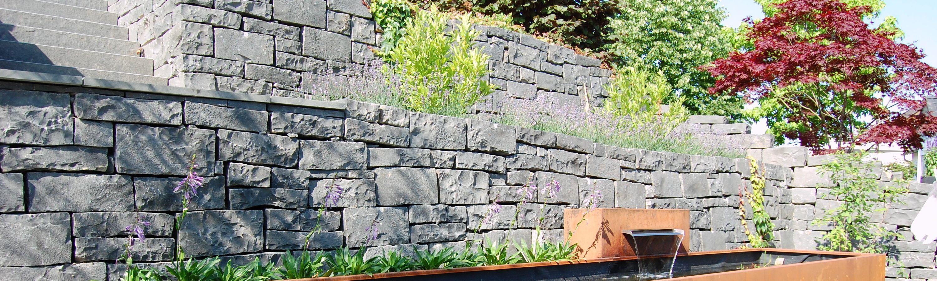 Garten Terrasse Außengestaltung Mauer Trockenmauer