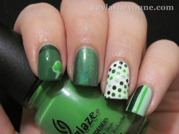 CND Stickey Base Coat  Essie - Mint Candy Apple (base on pinky, lightest dots on ring, shamrock on index)  China Glaze - Holly-Day (dark stripe on pinky, darkest dots on ring)  China Glaze - Gaga for Green (light stripe on pinky, lime dots on ring, inside of shamrock on index)  China Glaze - Starboard (medium dots on ring, creme section of ruffian)  Nubar - Reclaim (middle and thumb)  OPI - Here Today...Aragon Tomorrow (base for ruffian)  Seche Vite Top Coat